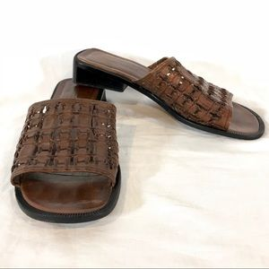 Vintage Nordstrom Kira Brown Leather Slide Sandals